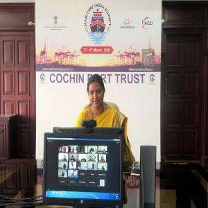 Dr. M. Beena IAS, Chairperson, Cochin Port Trust addressing participants of FIEO webinar